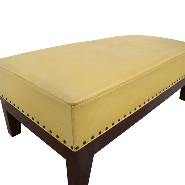 80 - Custom Mustard Yellow Leather Nailhead Ottoman Chairs