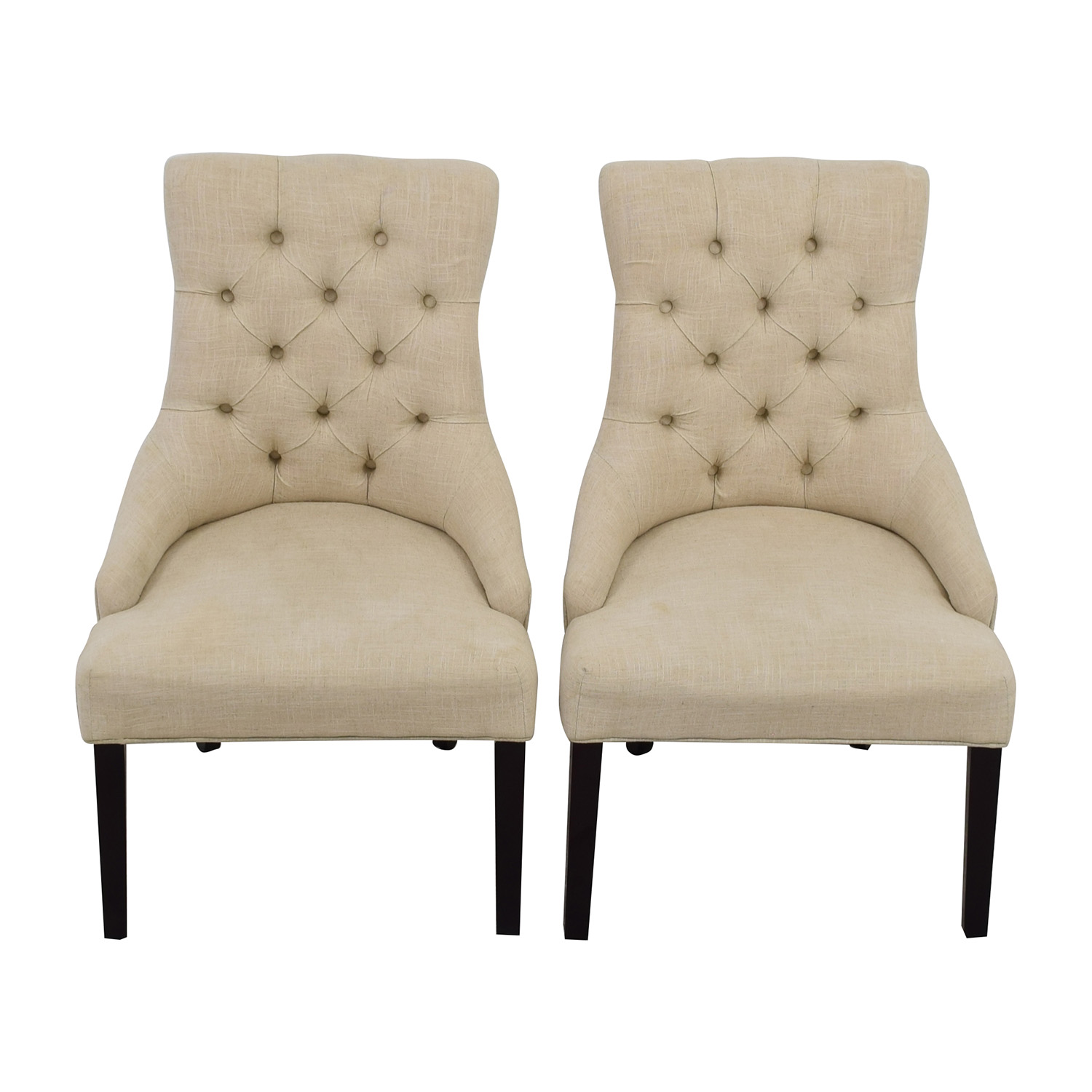 white tufted chair wooden high with tray 50 off raymour and flanigan
