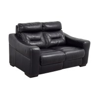 75% OFF - Macy's Macy's Black Leather Recliner Love Seat ...