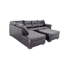 Leather Sectional Sofa Tufted Boston United Sofascore 81 Off Black And Ottoman