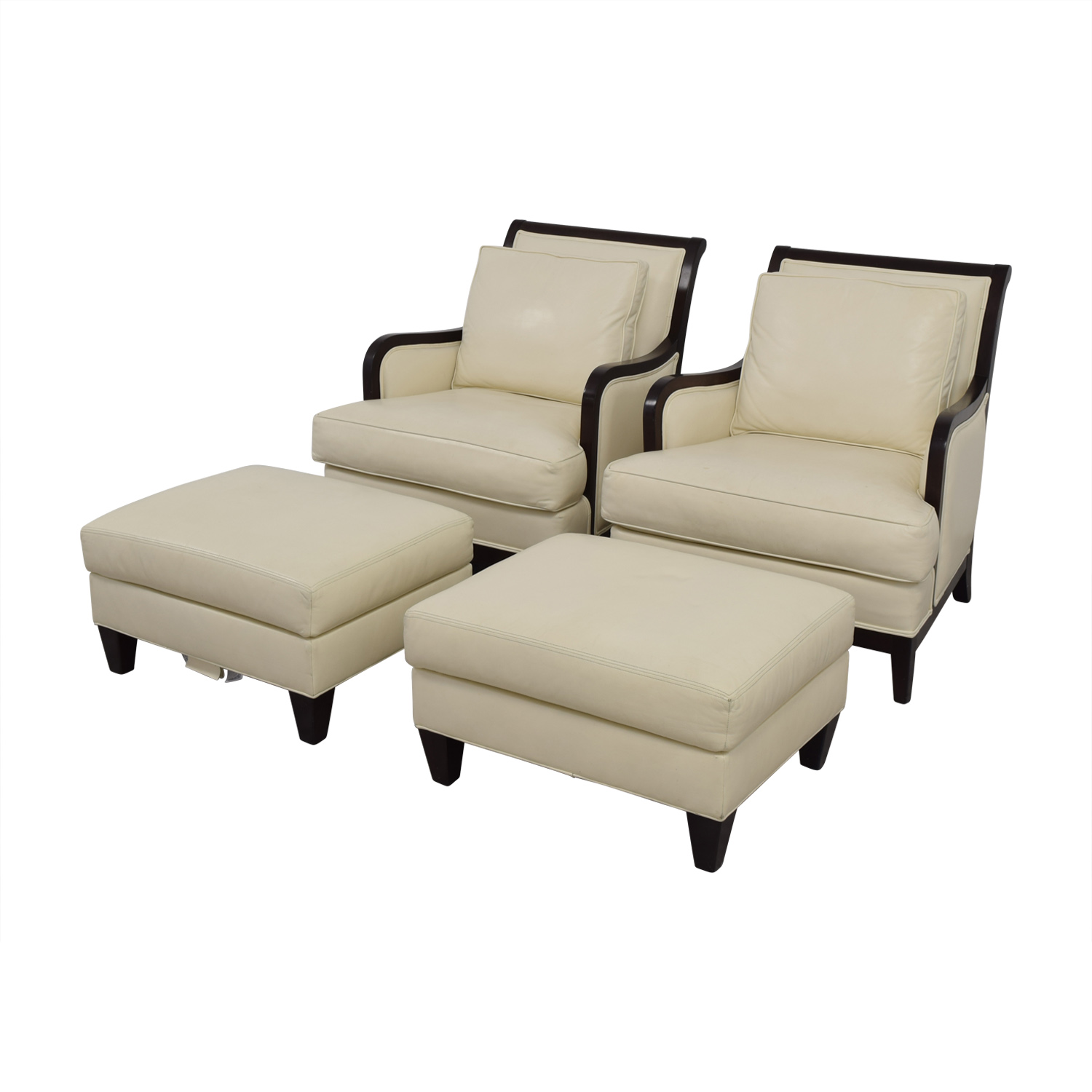 ethan allen leather chair modern high back wing 90 off palma ivory