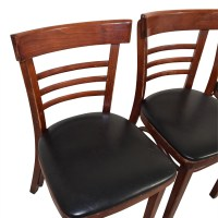 90% OFF - Wood and Black Leather Upholstered Chairs / Chairs