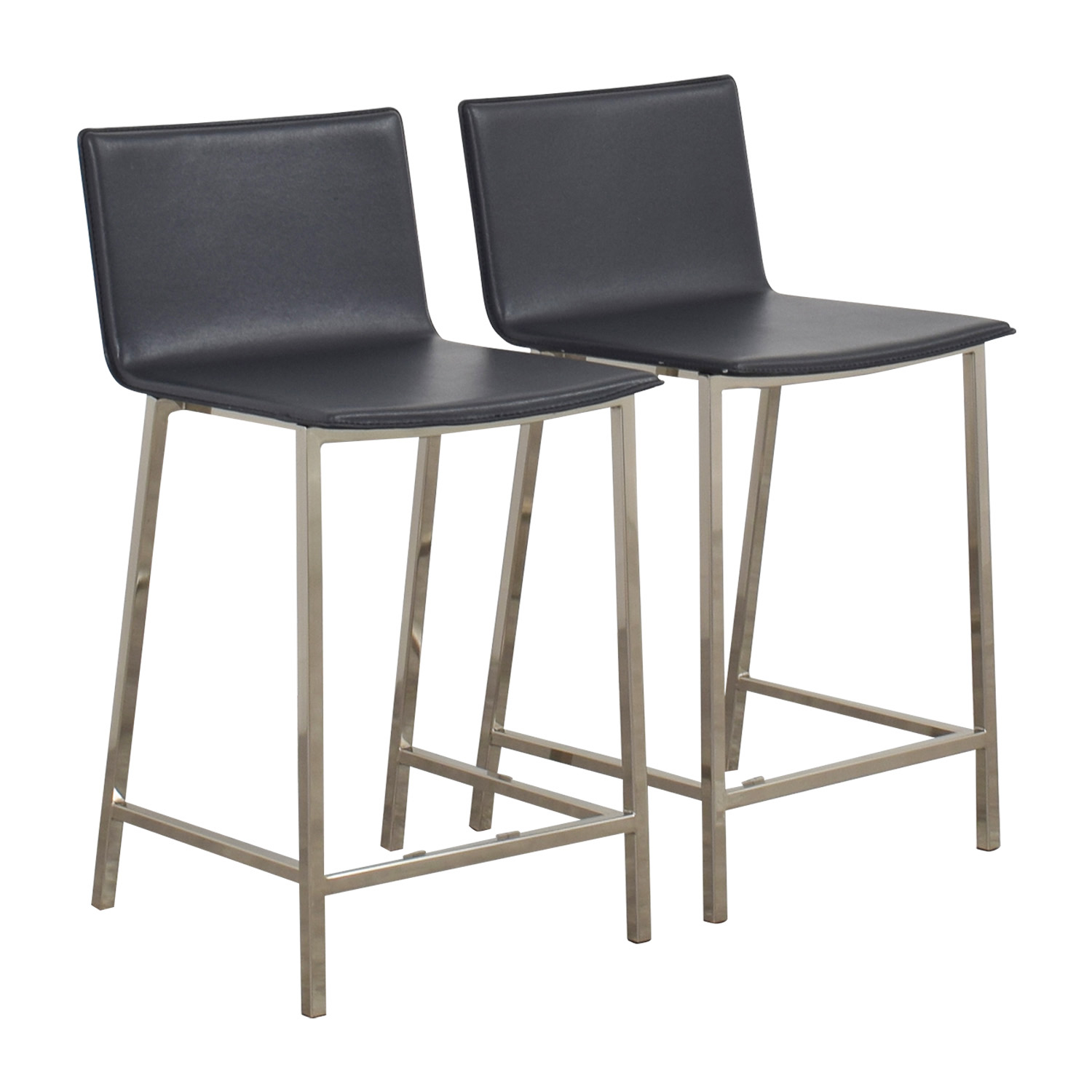 44 OFF  CB2 CB2 Grey Leather Bar Stools  Chairs