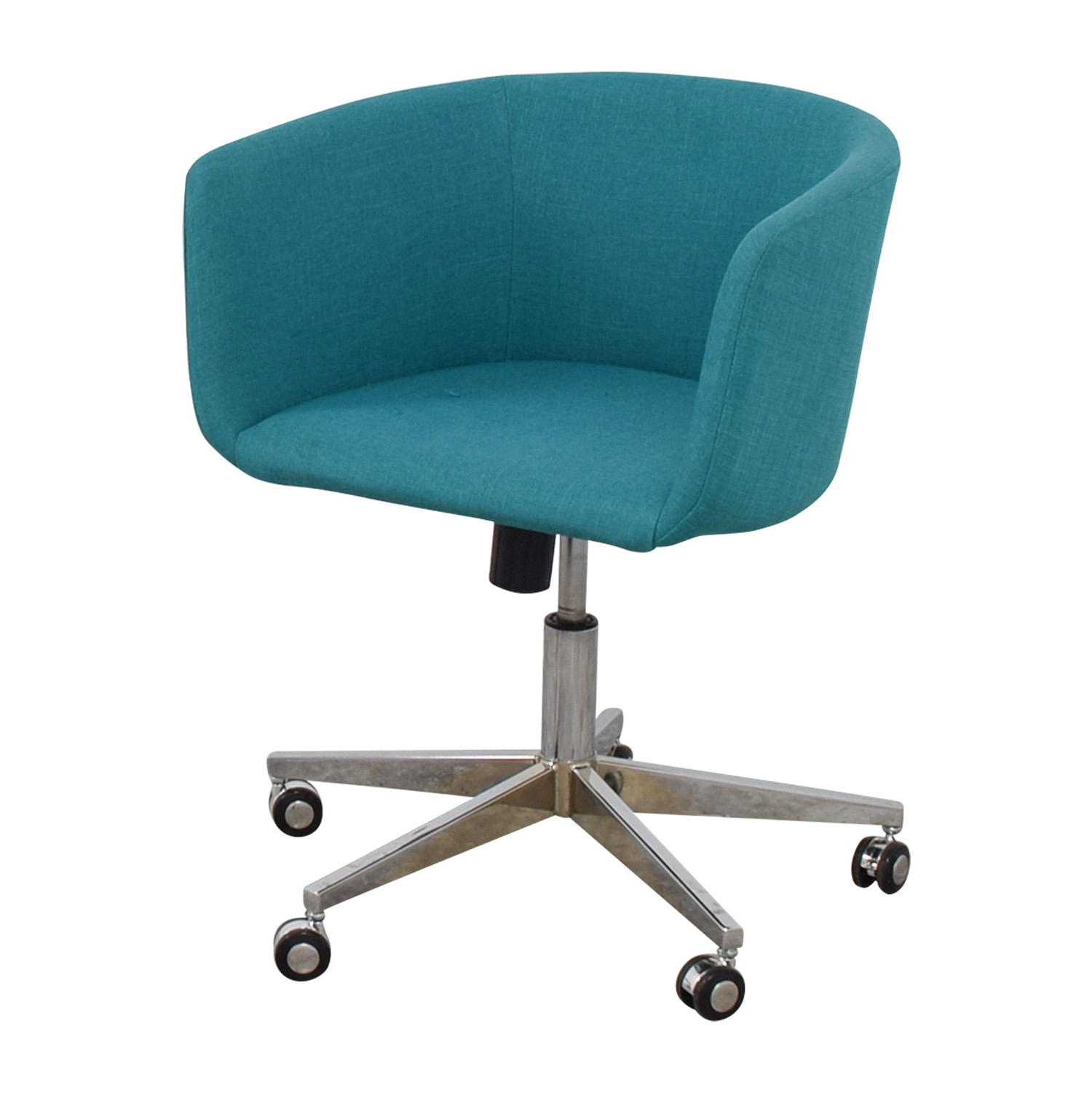 teal computer chair portable gym 37 off cb2 desk with castors chairs