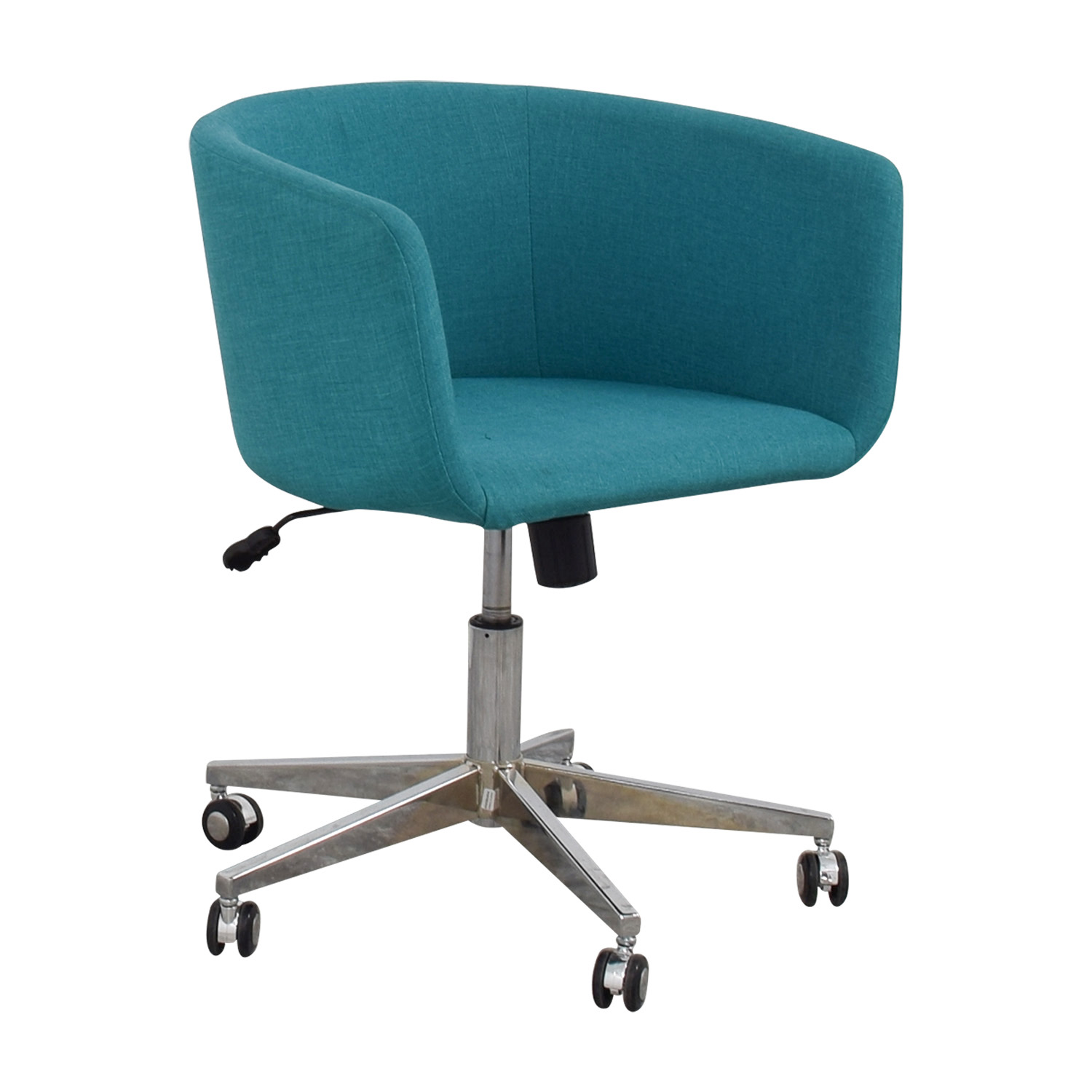 teal computer chair tufted dining 37 off cb2 desk with castors chairs