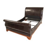 90% OFF - Brown Leather Queen Sleigh Bed / Beds