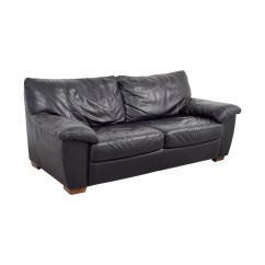 Black Leather Chair Ikea Summer Infant Wood High 90 Off Two Cushion Couch Sofas