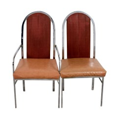 Leather And Chrome Chairs Classic Deck 90 Off Peach Dining