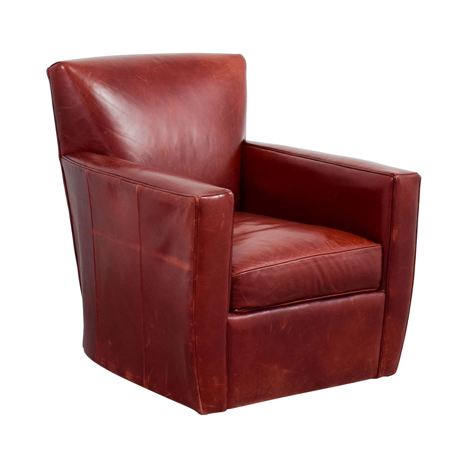 leather swivel chair hanging ceiling 79 off crate and barrel