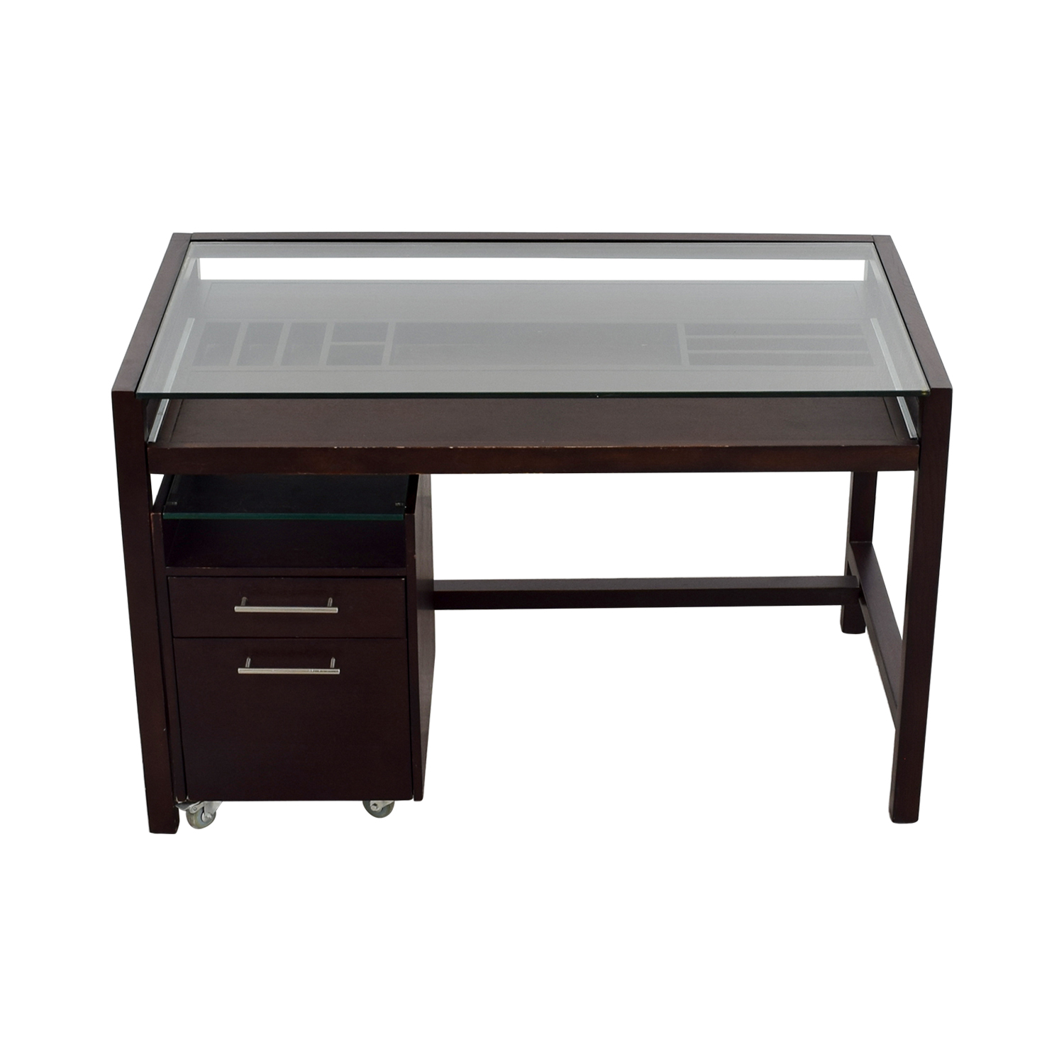90 OFF  GlassTop Dark Brown Wood Desk with File Cabinet