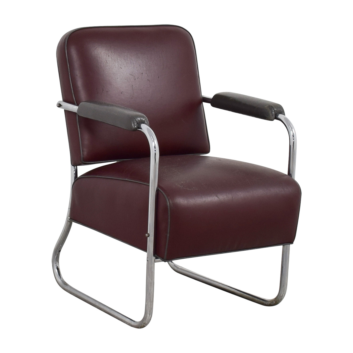 84 OFF  Vintage Art Deco Leather Chair  Chairs