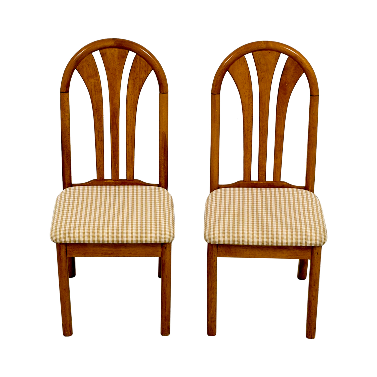 Gingham Chair 85 Off Gingham Upholstered Wood Chairs Chairs