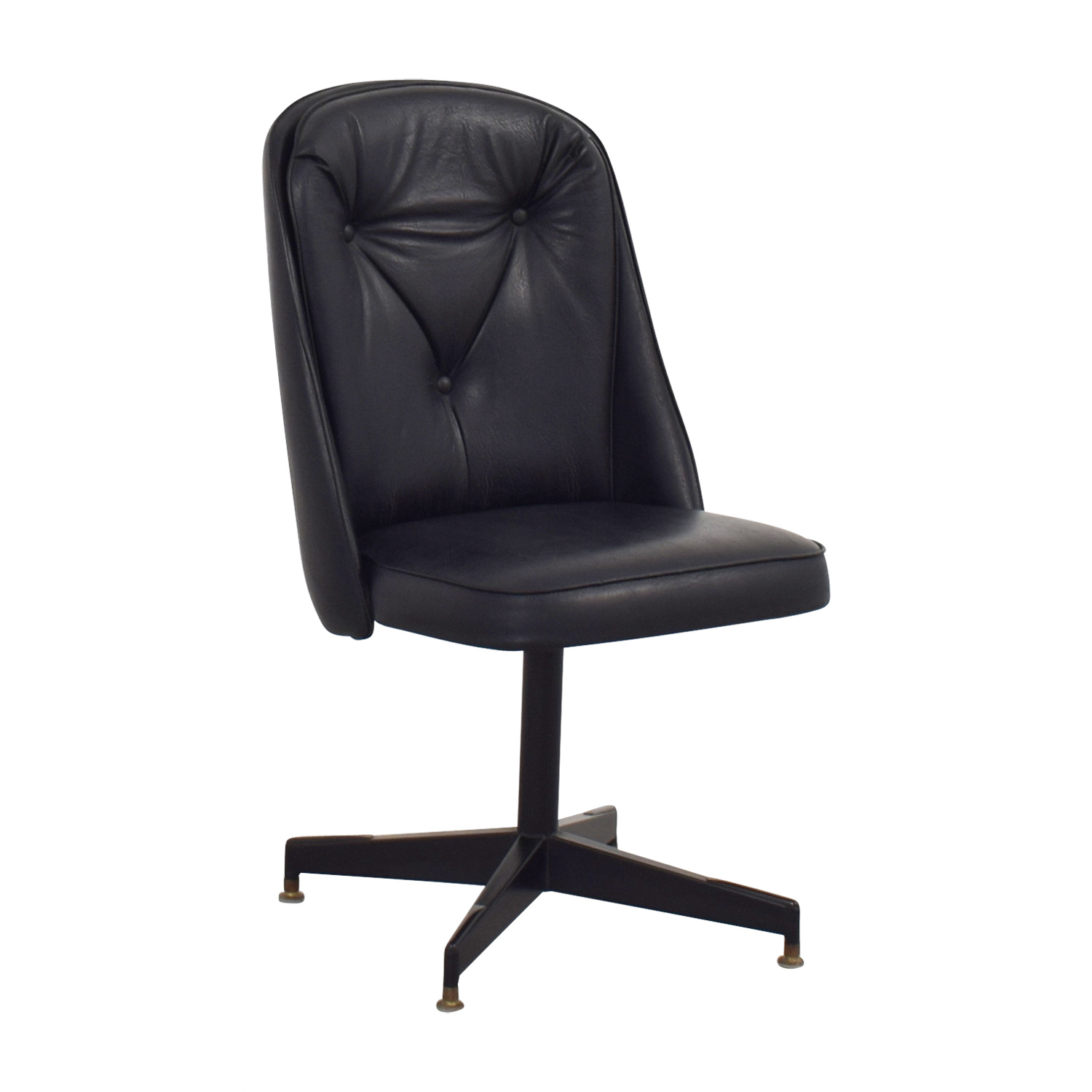 Black Swivel Chair 62 Off Black Leather Swivel Office Desk Chair Chairs