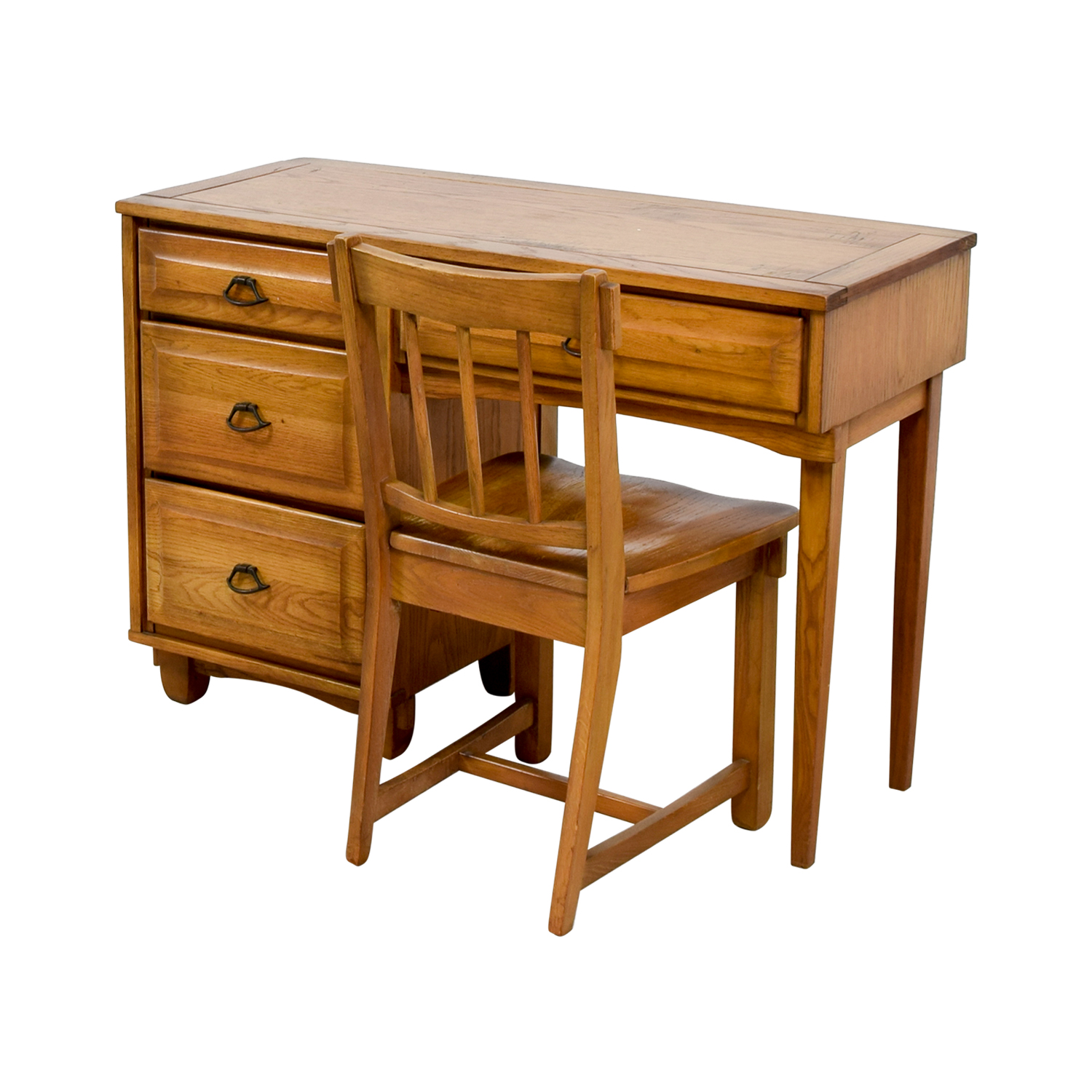 89 OFF Vintage Mid Century Oak Desk with Chair Tables