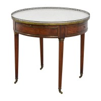 90% OFF - Antique Round Table with Marble Top / Tables