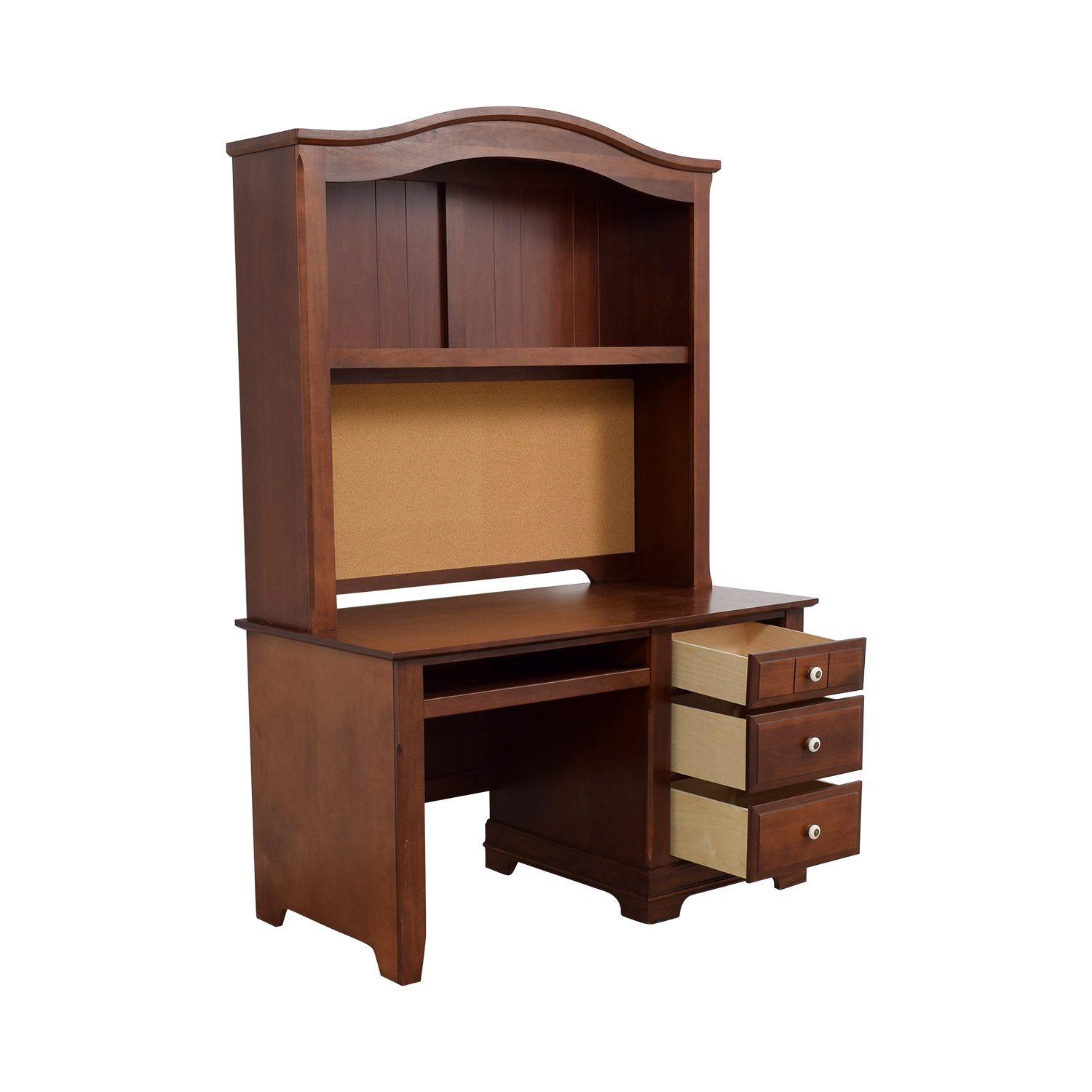 office chairs cork pico folding chair 90 off three drawer wood desk with curved hutch and