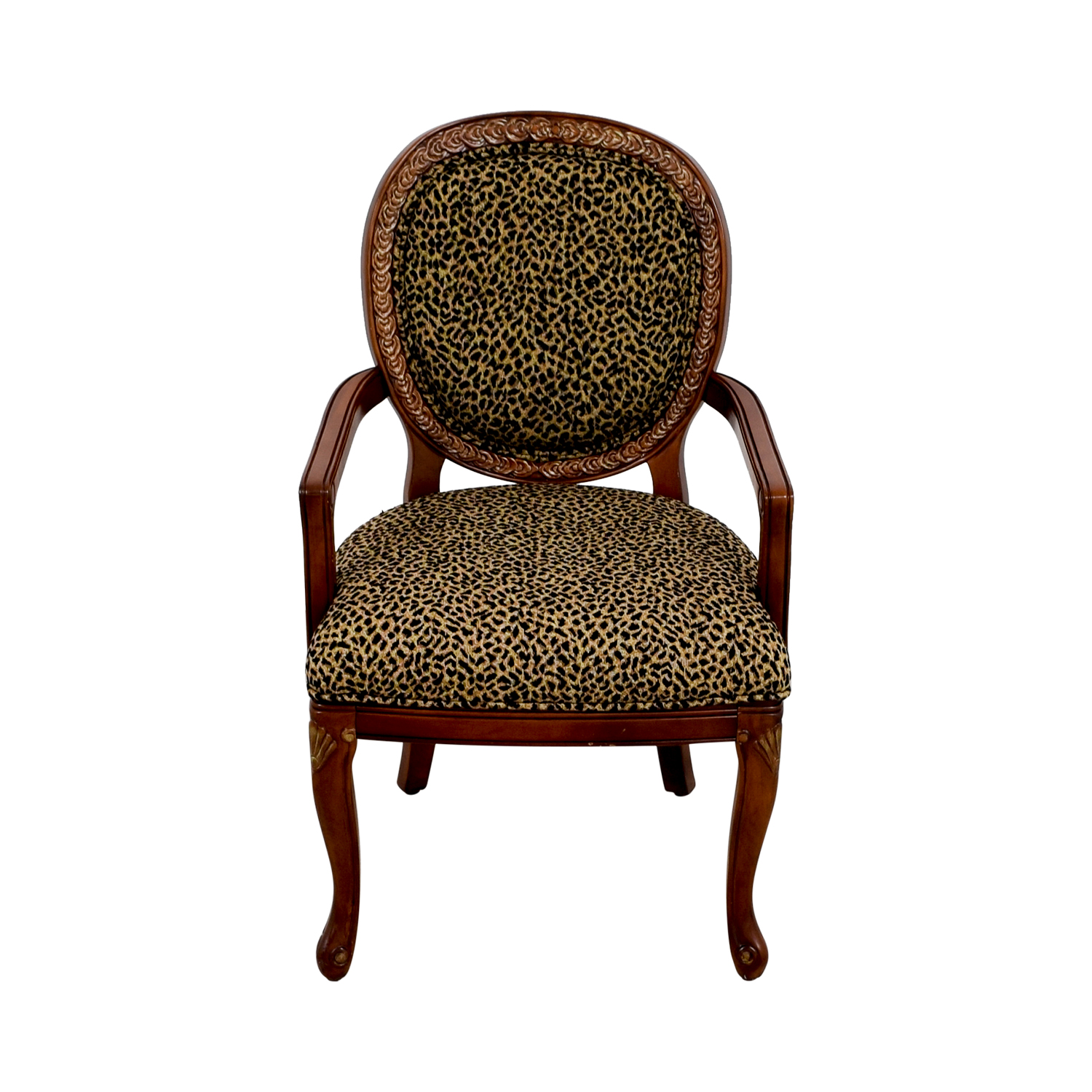 upholstered chairs with wooden arms hanging birdcage chair 63 off leopard wood arm