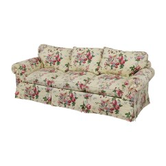 Three Cushion Sofa Macy S Pearl Leather 90 Off Floral On White With Curved