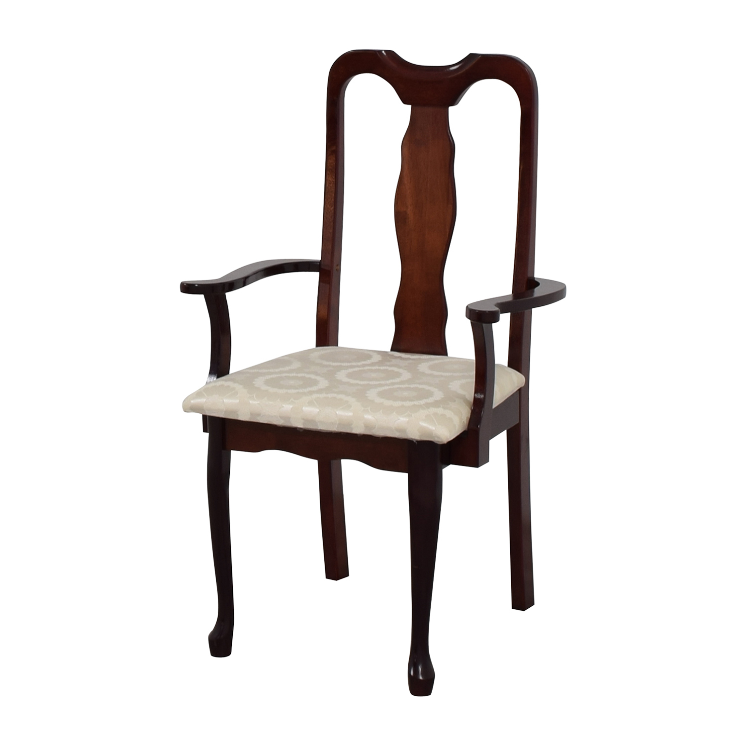 revolving chair second hand counter height kitchen chairs 90 off cherry wood arm in white upholstery