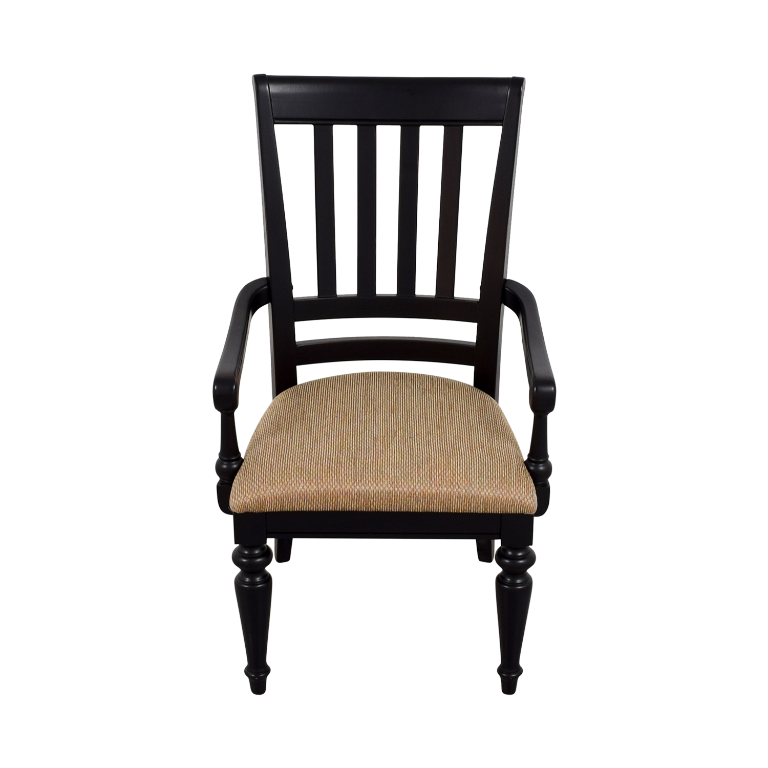 90 OFF  Black Arm Chair with Beige Upholstered Padded