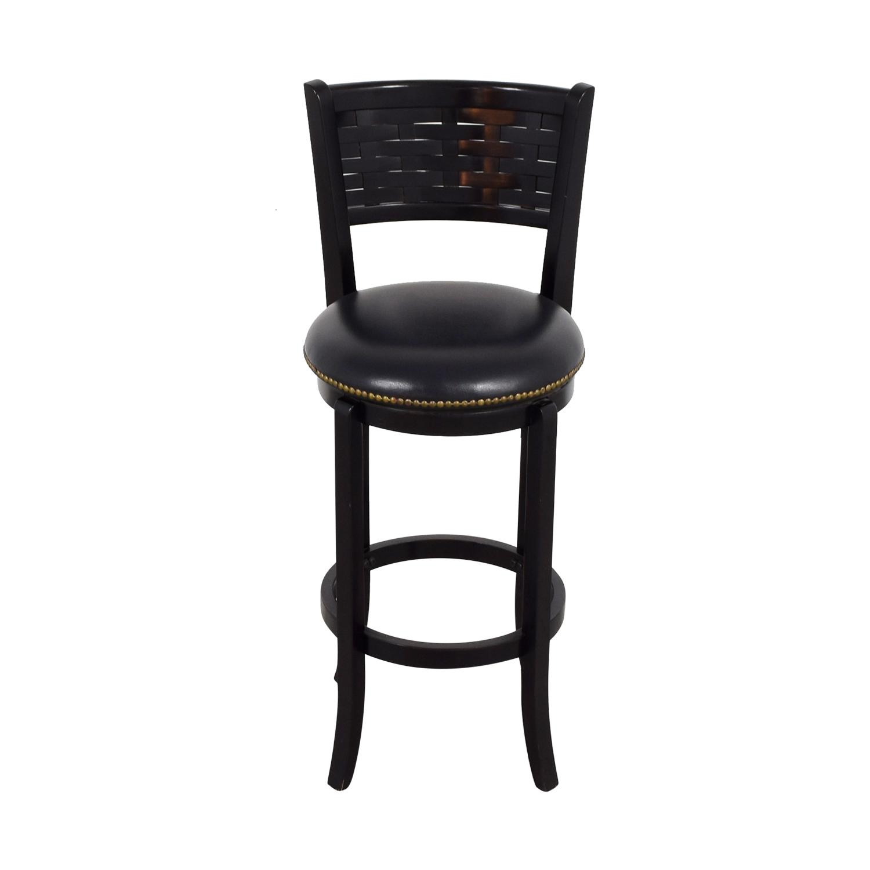 black bar stool chairs chair storage racks 90 off leather with nailhead swivel