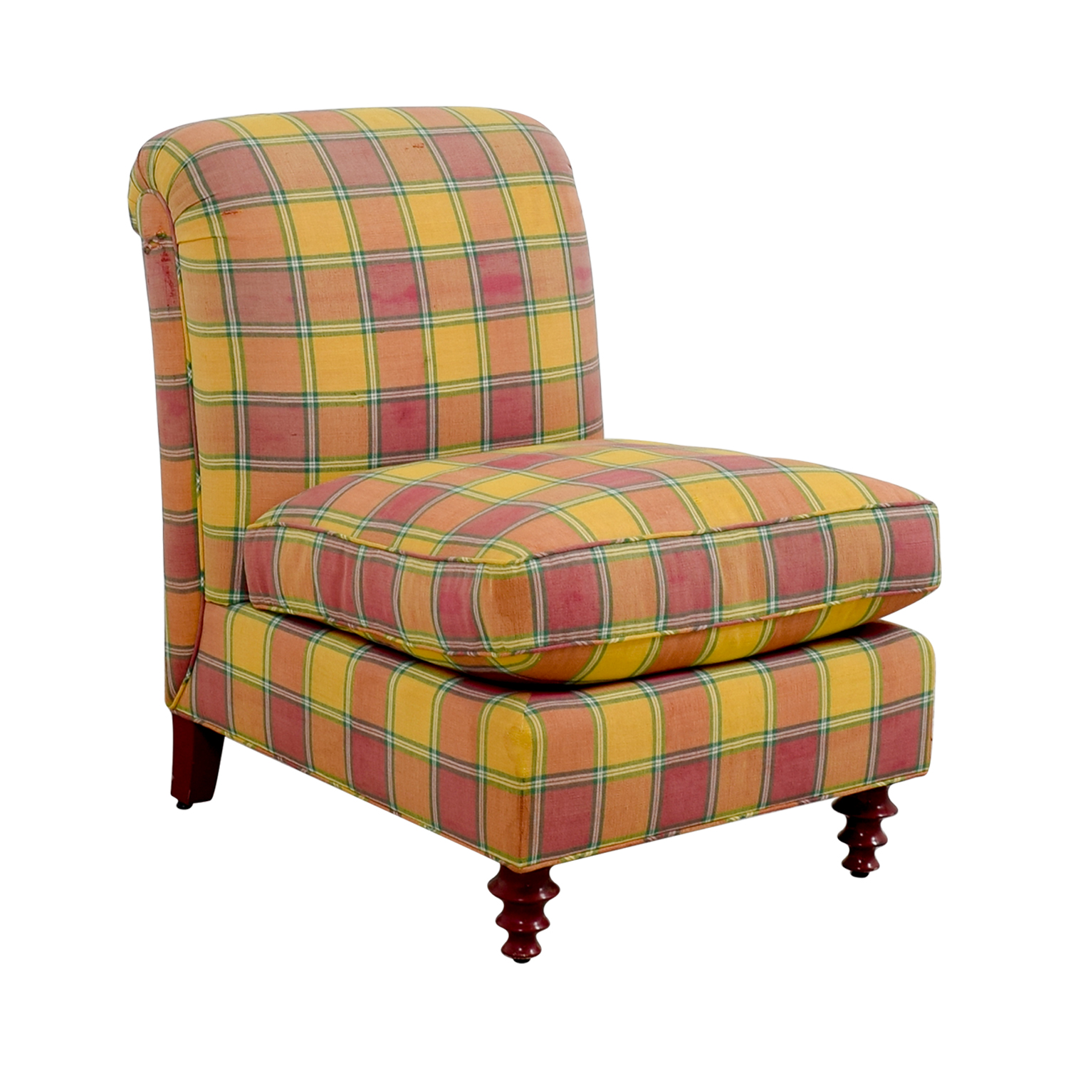 Plaid Chair 90 Off Furniture Masters Furniture Masters Red And