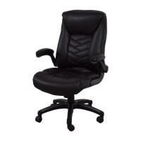 90% OFF - Black Leather Office Chair / Chairs