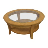 90% OFF - Round Glass and Wood Cocktail Table / Tables