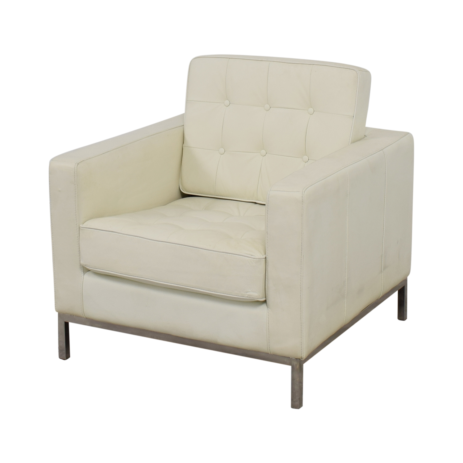 White Tufted Accent Chair 90 Off White Leather Tufted Accent Armchair Chairs