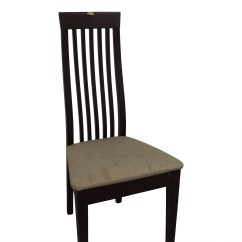 Wooden Slat Chairs Folding Moon Chair 90 Off Wood Vertical Back With Tan Cushioned