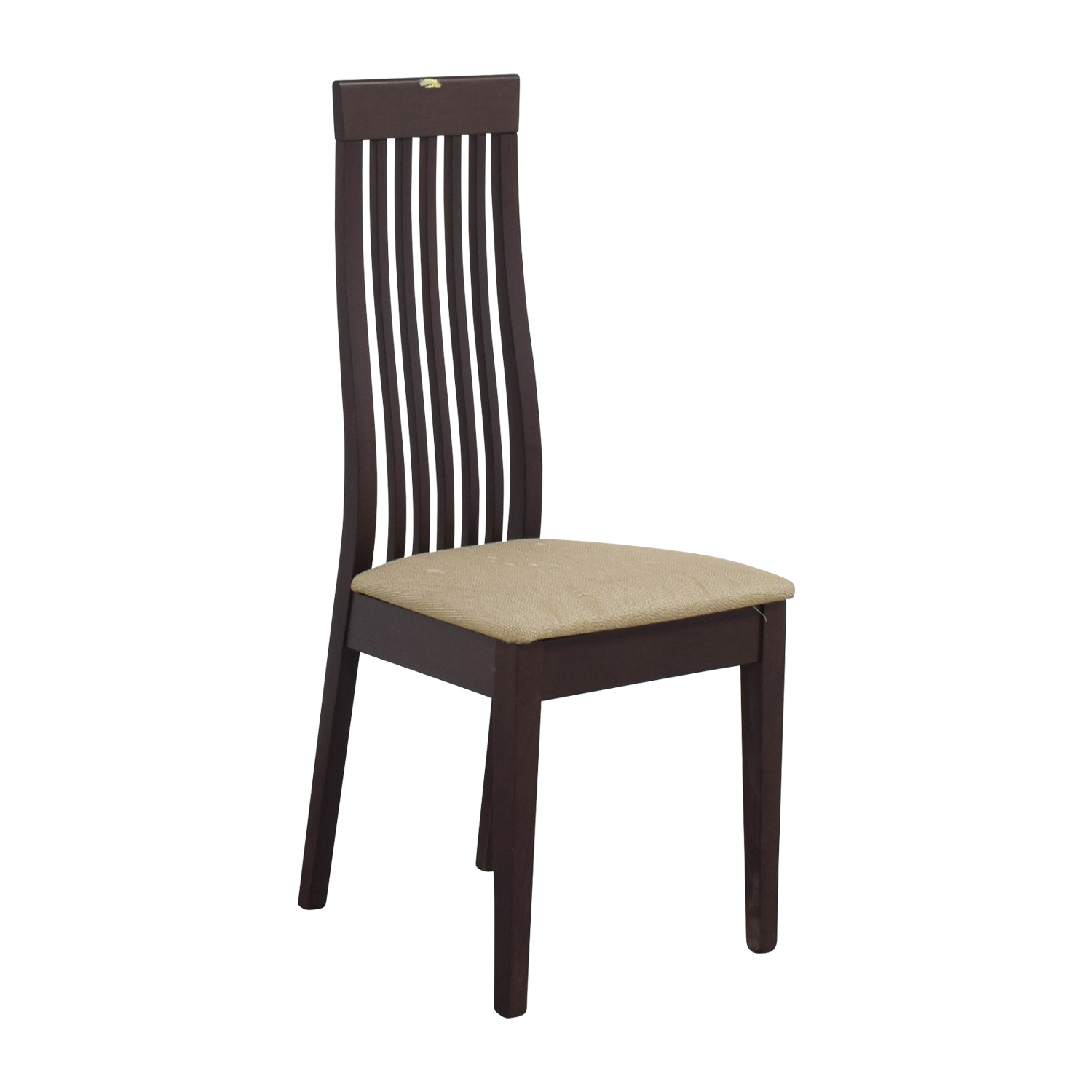 wooden slat chairs upholstery wingback chair 90 off wood vertical back with tan cushioned