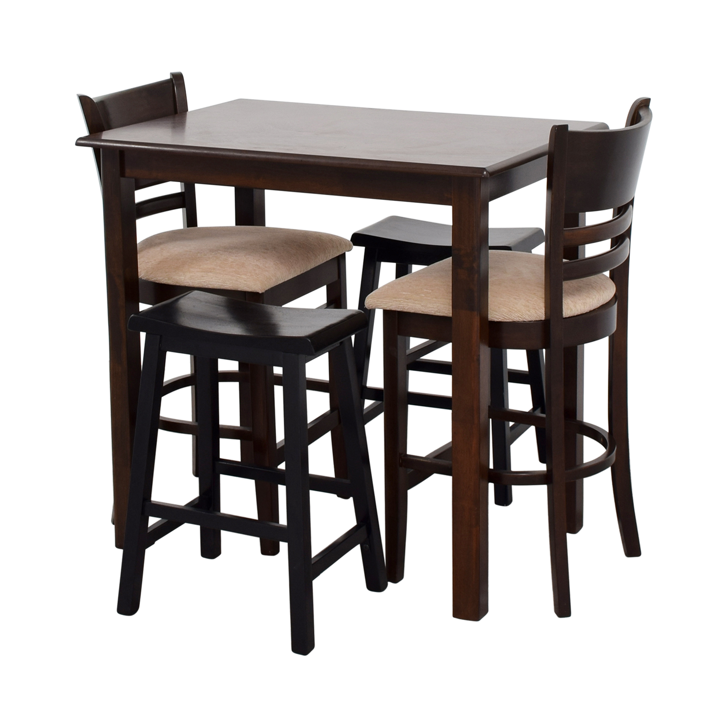 Table With Two Chairs 70 Off Simple Bar Table With Two Chairs And Two Stools