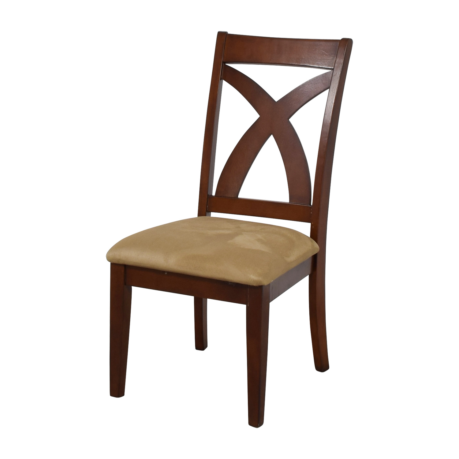 cross back dining chairs white step two desk and chair 88 off wood with padded seat