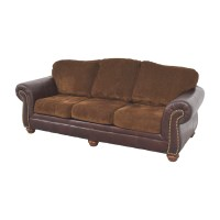 90% OFF - Simmons Simmons Sofa with Leather Arms / Sofas