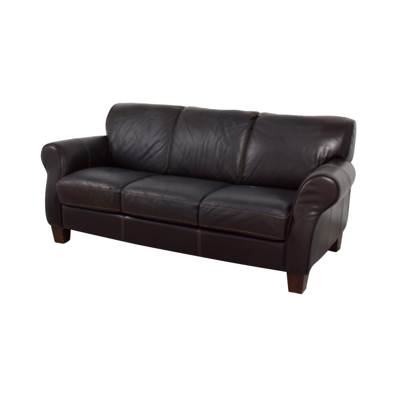 90 OFF  Raymour and Flanigan Raymour and Flanigan Brown Leather ThreeCushion Sofa  Sofas