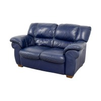 80% OFF - Macy's Macy's Navy Blue Leather Loveseat / Sofas