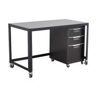 90% OFF - Metal Desk on Castors with Filing Cabinet / Tables