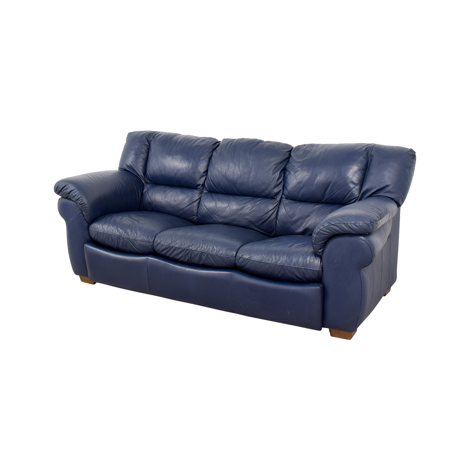 blue leather sofas white sofa for office 86 off macy 39s navy three cushion