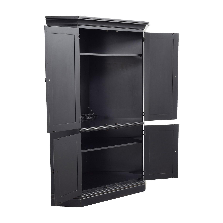 90 OFF  Black Wood Corner Media Cabinet  Storage