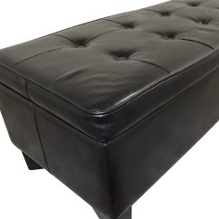 Chairs With Storage Ottoman Where To Buy Chair Webbing 42 Off Black Tufted Faux Leather