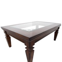 90% OFF - Wood Metal Scroll and Glass Coffee Table / Tables