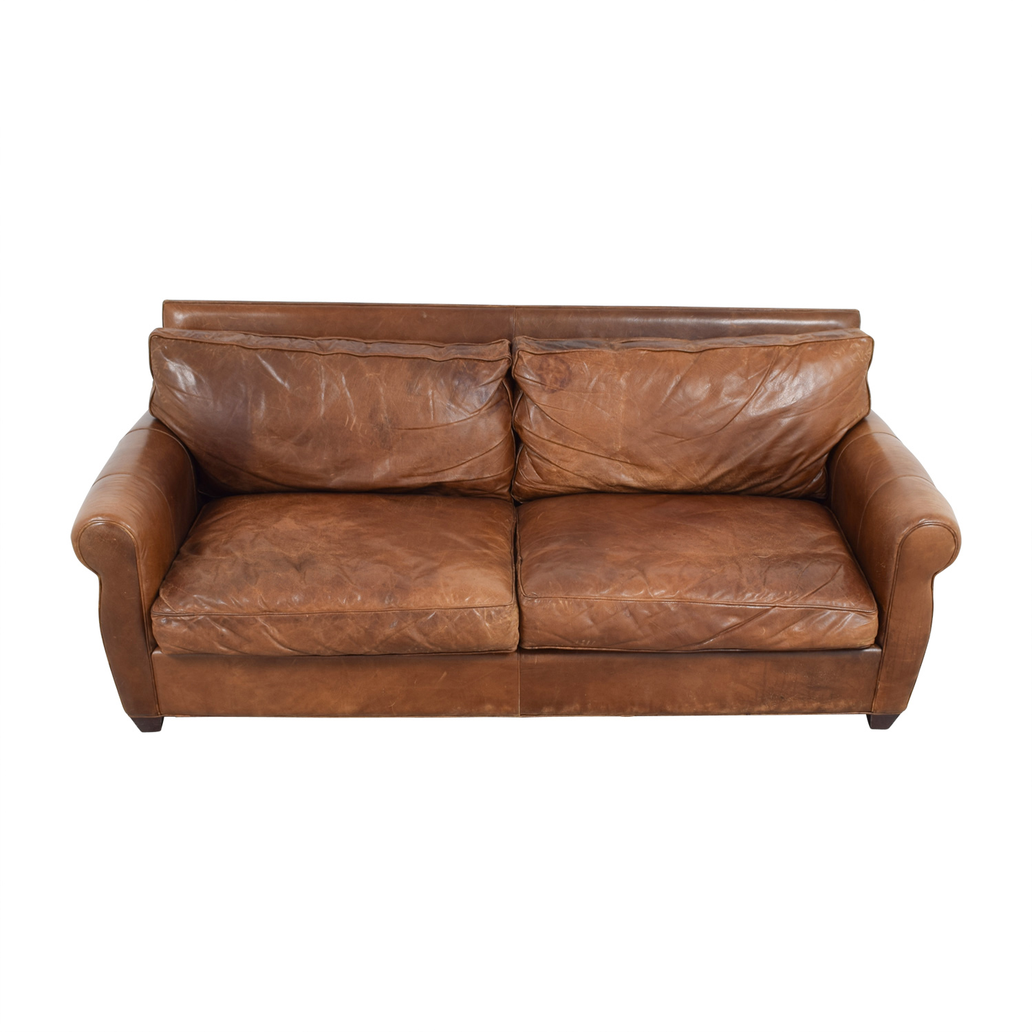 arhaus leather sofa index mulberry bed 85 off natuzzi brown couch sofas