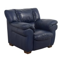 90% OFF - Macy's Macy's Navy Blue Leather Sofa Chair / Chairs
