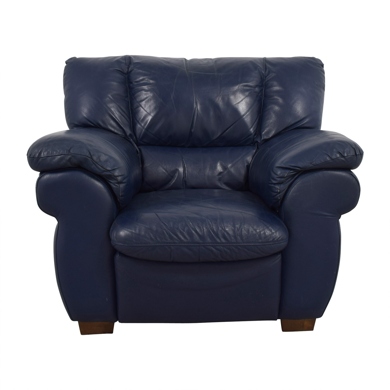 90 OFF  Macys Macys Navy Blue Leather Sofa Chair  Chairs