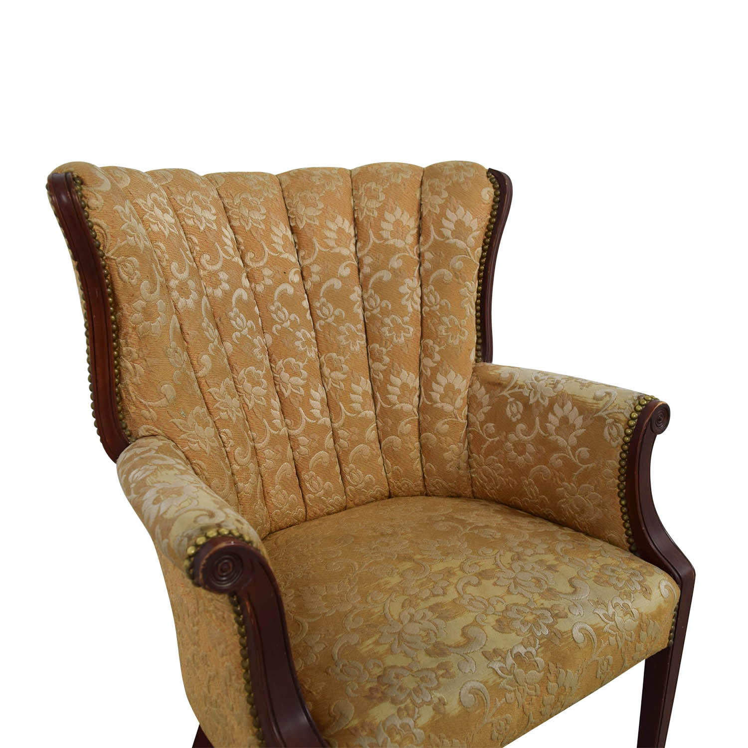 87 OFF  Antique Indigo Yellow Wingback Accent Chair  Chairs