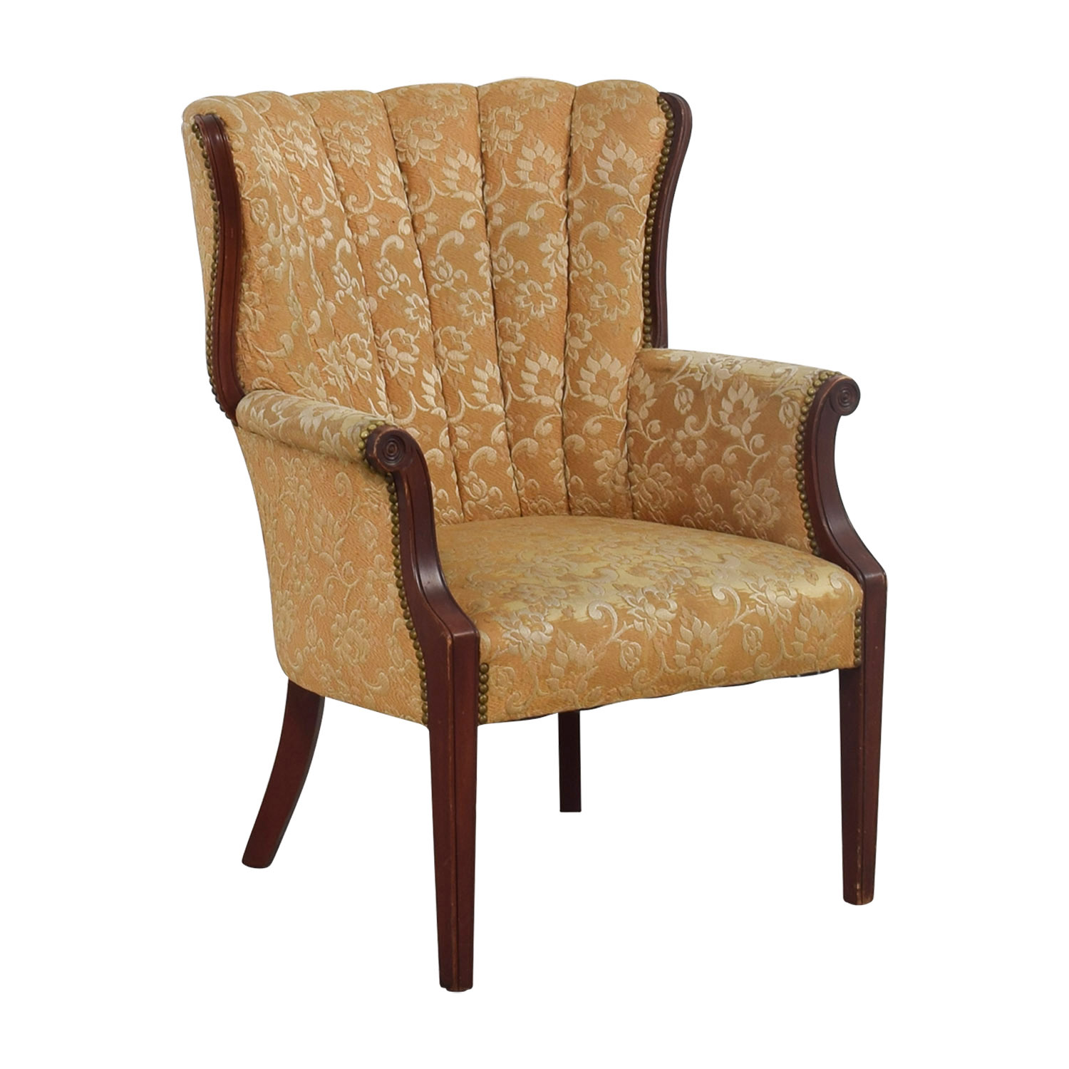 Used Wingback Chairs 87 Off Antique Indigo Yellow Wingback Accent Chair Chairs