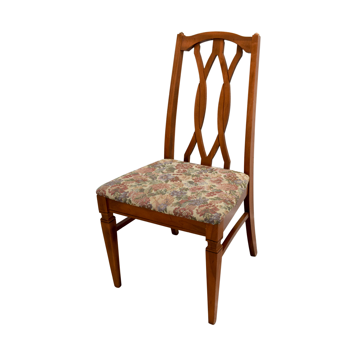 83 OFF  Wood Kitchen Table and Floral Upholstered Chairs