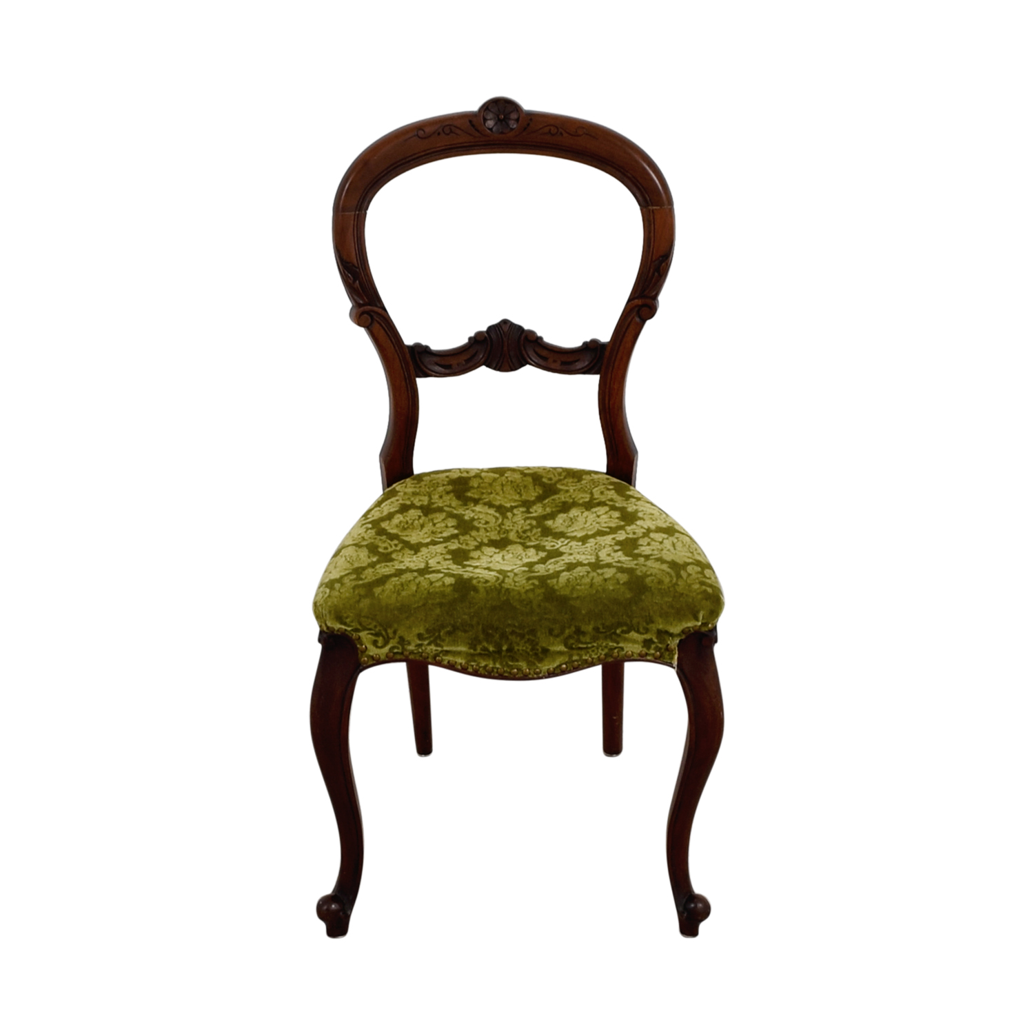 Green Velvet Dining Chairs 90 Off Antique Green Velvet Wood Chair Chairs