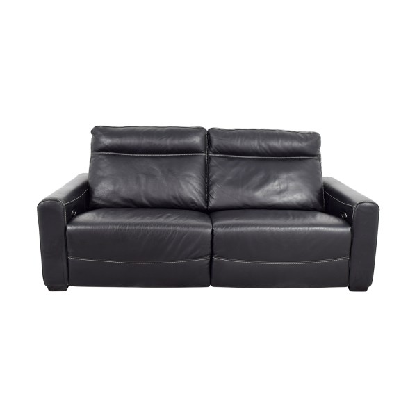 Black Leather Sectional Recliner Sofa