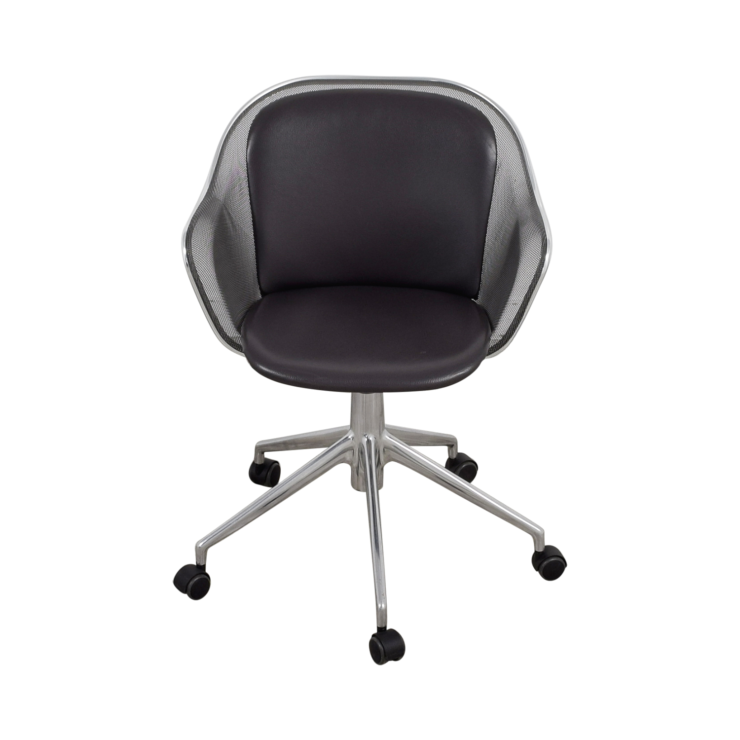 grey leather desk chair steel cushions 90 off b and italia